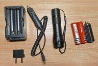 Rinkinys - prozektorius LED 7 w, batarejos, pakrovejas