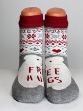 """Kojinės su kalėdiniais motyvais """"Free Hugs"""""""