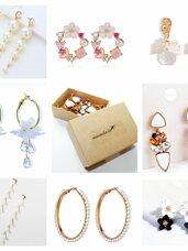 Puošnūs, balti perlų karoliukų ir kristalų auskarai