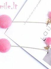 """Elegantiški rožinio aksomo auskarai """"Du viename"""""""