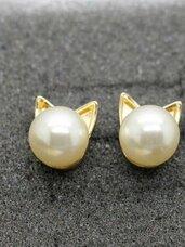 """Auskarai """"Golden Pearl Kitty"""""""