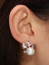 Balto perlo auskarai Kalėdiniai Elniukai