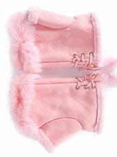 Rožinės riešinės su natūrakiu kailiu