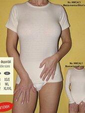 Angoriniai šildantys marškinėliai trumpom rankovėm, balta spalva