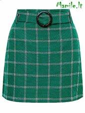 """Žali languoti """"A-line"""" formos sijonai su diržu."""