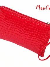 Raudonos krokodilo odos rašto imitacijos delninės