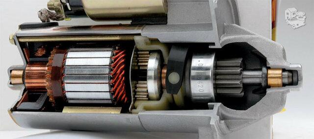 Starterius, generatorius ir ventiliatorių elektros varykliukus