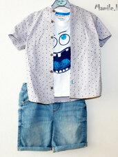 3 dalių komplektukai berniukams: šortai, marškiniai ir marškin