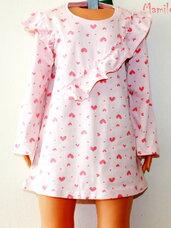 Gražios rožinės suknelės su širdutėmis ilgomis rankovėmis