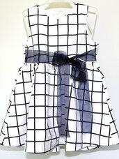 Puošni balta-languota suknelė 1-2 met. mergaitei
