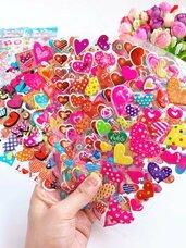 3D iškilūs lipdukai širdelės, 1 lapelis