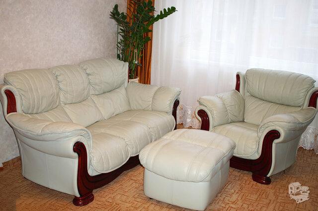 Minkštų baldų komplektas 3+1+1+pufas