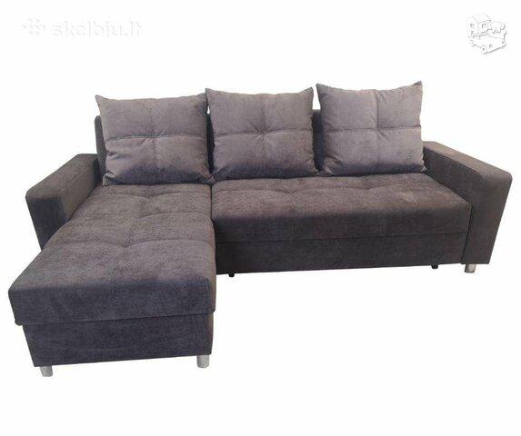 Minkštas kampas L formos Nr112 tamsiai violetinis su miego