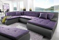 Minkštas kampas U formos Nr16 pilka eko/violetinė str. su miego
