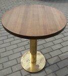 Apvalus stalas. Stalviršis medžio masyvo, koja sunki metalinė