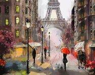 """Tapybos pagal skaičius rinkinys """"Rain in Paris"""""""