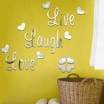 """Veidrodinis sienos lipdukas """"Live Laugh Love"""""""