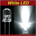 100 vnt. LED, baltų 5 mm