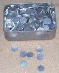 Apvalūs aliuminiai gabaliukai skermuo 1,8 cm, storis 2,5 mm