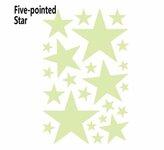3D tamsoje švytinčios žvaigždės, 23vnt, 1 lapelis