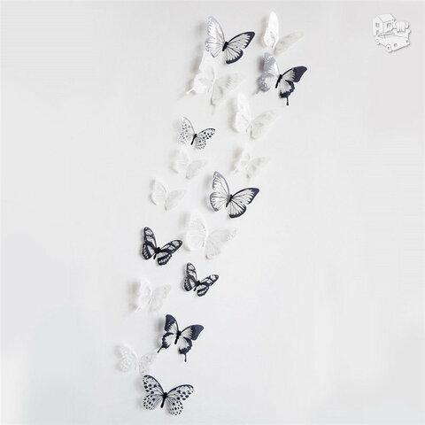 Juodi balti 3D sienos lipdukai, 18vnt