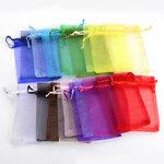 Įvairių spalvų organzos maišeliai 9x12 cm