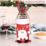 Kalėdinė butelio dekoracija-maišelis