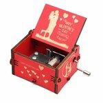 Mechaninė medinė muzikinė dėžutė Happy Valentine's Day