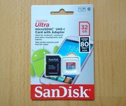Nauja 10klases SanDisk Ultra 32gb atminties kortelė su adapteriu